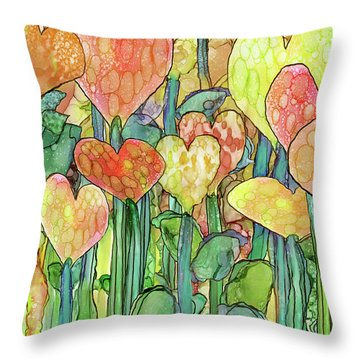 Throw Pillow featuring the mixed media Heart Bloomies 3 - Golden by Carol Cavalaris