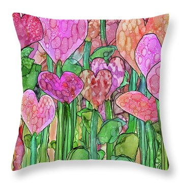 Throw Pillow featuring the mixed media Heart Bloomies 3 - Pink And Red by Carol Cavalaris