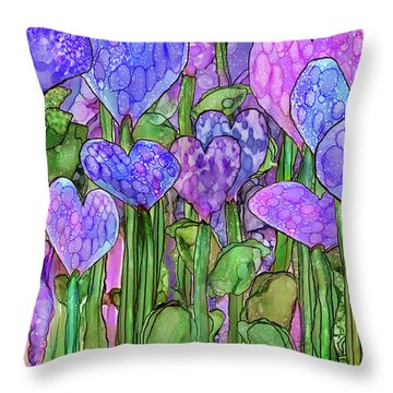 Throw Pillow featuring the mixed media Heart Bloomies 3 - Purple by Carol Cavalaris
