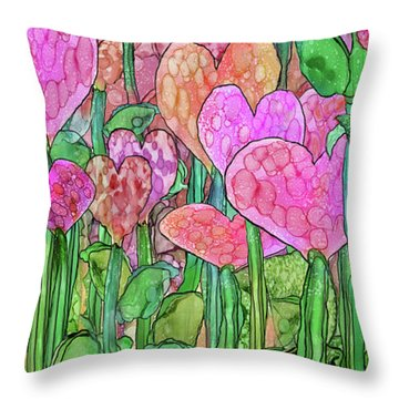 Throw Pillow featuring the mixed media Heart Bloomies 4 - Pink And Red by Carol Cavalaris