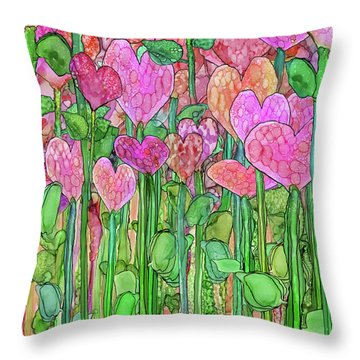 Throw Pillow featuring the mixed media Heart Bloomies 1 - Pink And Red by Carol Cavalaris