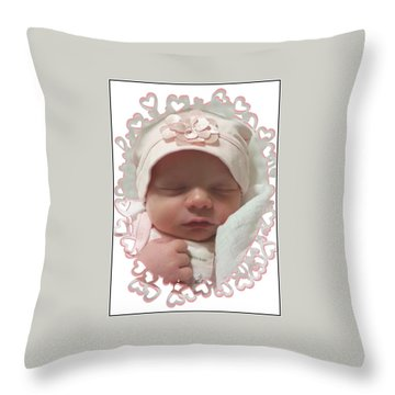 Heart Border On Newborn Girl Throw Pillow