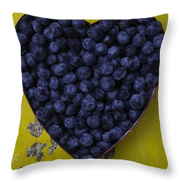 Heart Box With Blueberries Throw Pillow