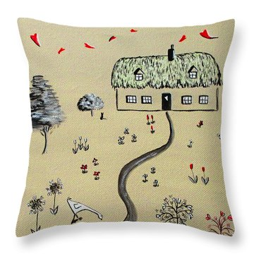Heart Cottage Red 1  Throw Pillow by Kathy Spall