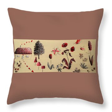 Heart Cottage Red 3 Throw Pillow by Kathy Spall