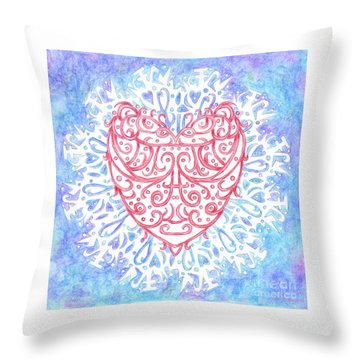 Heart In A Snowflake II Throw Pillow