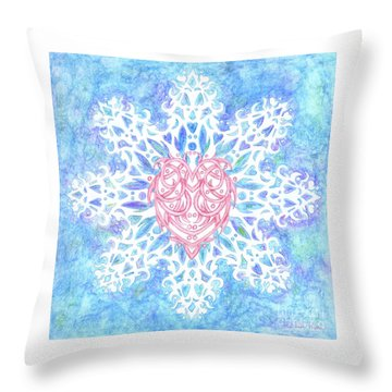 Heart In Snowflake Throw Pillow