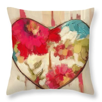 Heart In Stitches Throw Pillow