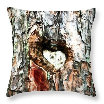 Throw Pillow featuring the photograph Heart In The Tree by Kerri Farley