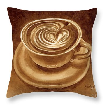 Heart Latte Throw Pillow by Hailey E Herrera