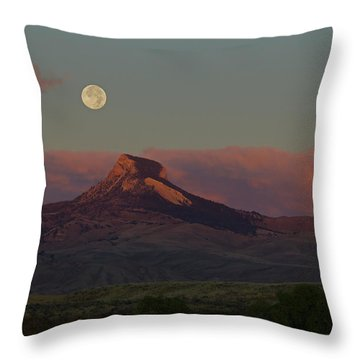 Heart Mountain And Full Moon-signed-#0273  #0273 Throw Pillow