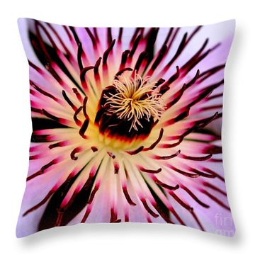 Heart Of A Clematis Throw Pillow