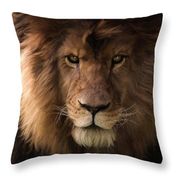 Heart Of A Lion - Wildlife Art Throw Pillow