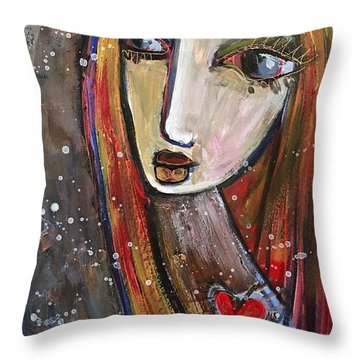 Throw Pillow featuring the painting Heart Of Gold by Laurie Maves ART