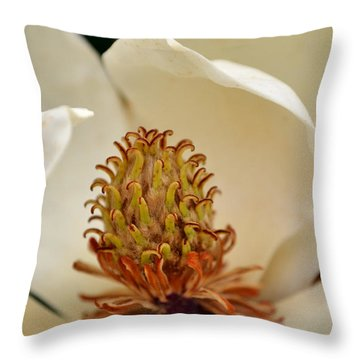 Throw Pillow featuring the photograph Heart Of Magnolia by Larry Bishop