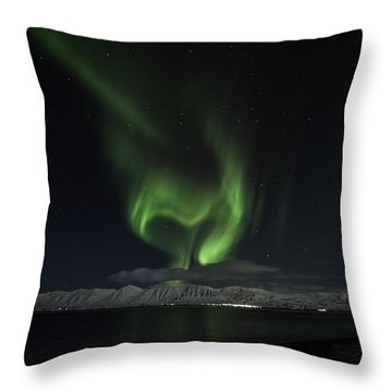 Heart Of Northern Lights Throw Pillow by Frodi Brinks