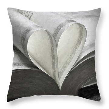 Heart Of The Book  Throw Pillow