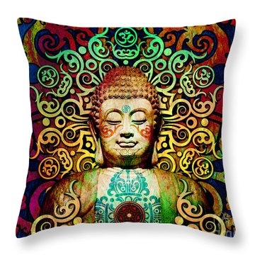 Heart Of Transcendence - Colorful Tribal Buddha Throw Pillow