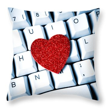 Heart On Keyboard Throw Pillow