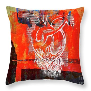 Heart On Texture Wall Throw Pillow