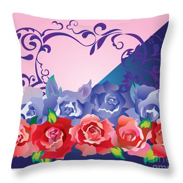 Heart Post Card Throw Pillow