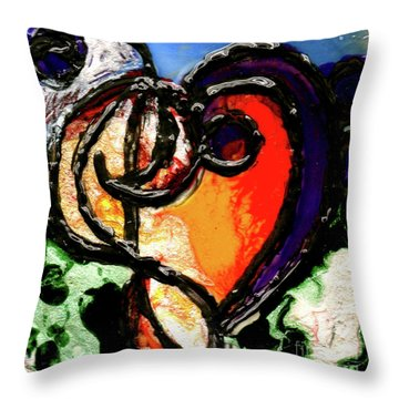 Throw Pillow featuring the painting Heart Robin Treble by Genevieve Esson