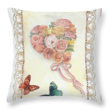 Heart Shape Bouquet With Butterfly Throw Pillow