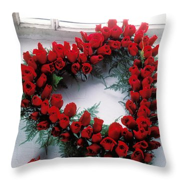 Heart Shape Made Of Roses Throw Pillow