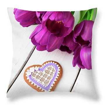 Heart Shaped Cookie And Flowers. Throw Pillow