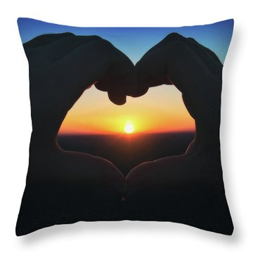 Heart Shaped Hand Silhouette - Sunset At Lapham Peak - Wisconsin Throw Pillow by Jennifer Rondinelli Reilly - Fine Art Photography