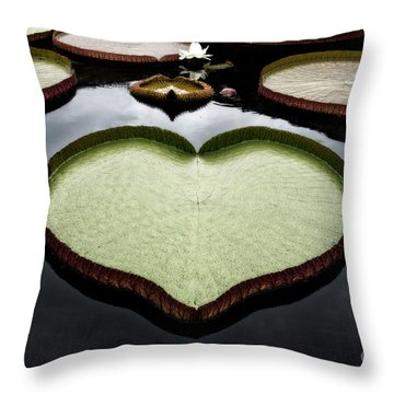 Heart Shaped Lily Pad Throw Pillow