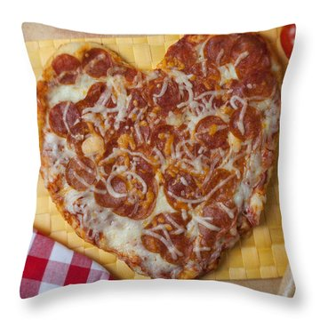 Heart Shaped Pizza Throw Pillow