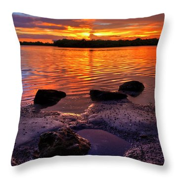 Heart Shaped Pool At Sunset Over Lake Worth Lagoon On Singer Island Florida Throw Pillow