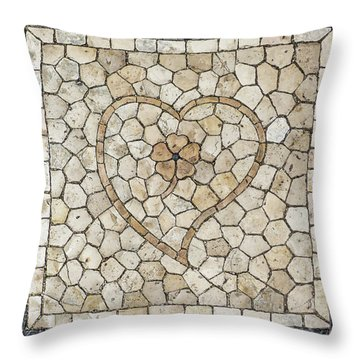 Heart Shaped Traditional Portuguese Pavement Throw Pillow