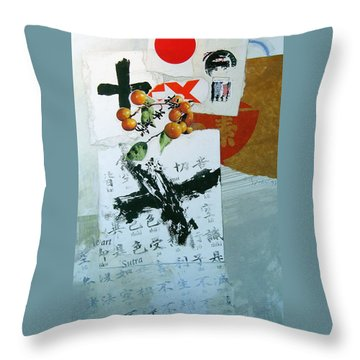 Throw Pillow featuring the painting Heart Sutra by Cliff Spohn