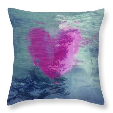 Heart Waves Throw Pillow by Linda Sannuti