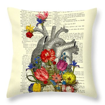 Heart With Colorful Flowers Throw Pillow