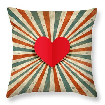 Heart With Ray Background Throw Pillow
