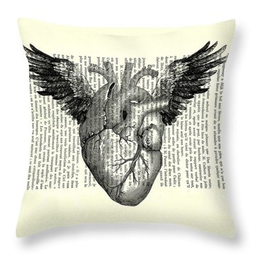 Heart With Wings In Black And White Throw Pillow