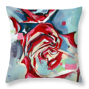 Throw Pillow featuring the painting Heartfelt Rose by John Jr Gholson