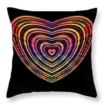 Throw Pillow featuring the digital art Hearts #6 by Visual Artist Frank Bonilla