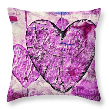 Throw Pillow featuring the painting Hearts Abstract by Lita Kelley