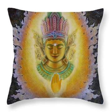 Throw Pillow featuring the painting Heart's Fire Buddha by Sue Halstenberg