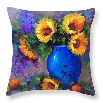 Heart's Glow Sunflowers And Cuties Throw Pillow by Nancy Medina