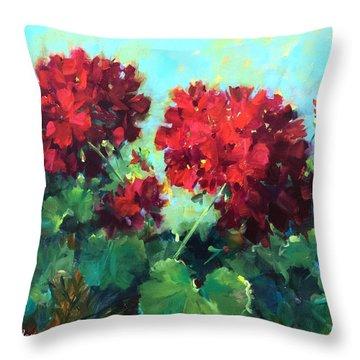 Hearts In Harmony Red Geraniums Throw Pillow by Nancy Medina