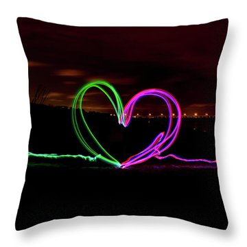 Hearts In The Night Throw Pillow