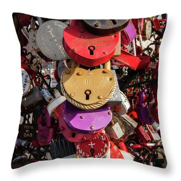 Hearts Locked In Love Throw Pillow