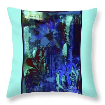 Red Heart- Blue Flowers Throw Pillow