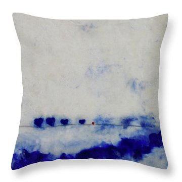 Throw Pillow featuring the painting Hearts On A Wire by Kim Nelson