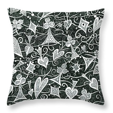 Hearts, Spades, Diamonds And Clubs In Black Throw Pillow